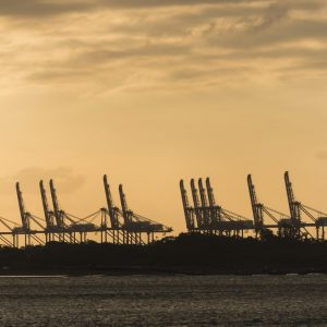 Port cargo Silhouettes at sunset