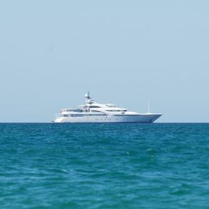 Yacht in ocean.
